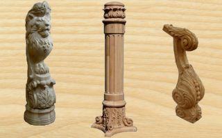 Использование резных столбов из дерева в наружных и внутренних конструкциях